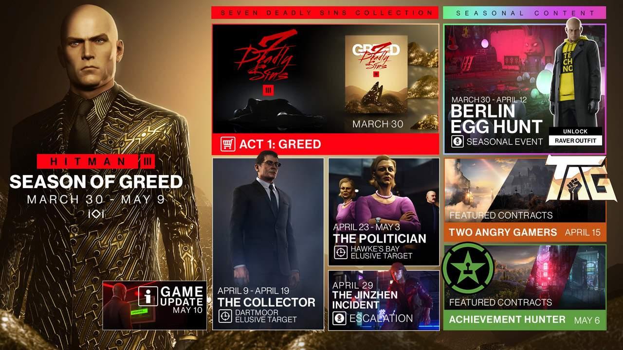 Hitman 3 Season of Greed update revealed, pre-update in May