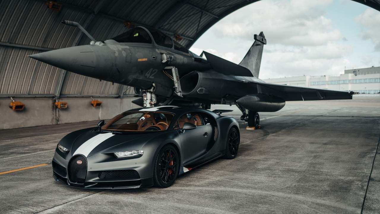 Bugatti Chiron Les Legendes du Ciel faces off with Dassault Rafale Marine fighter jet