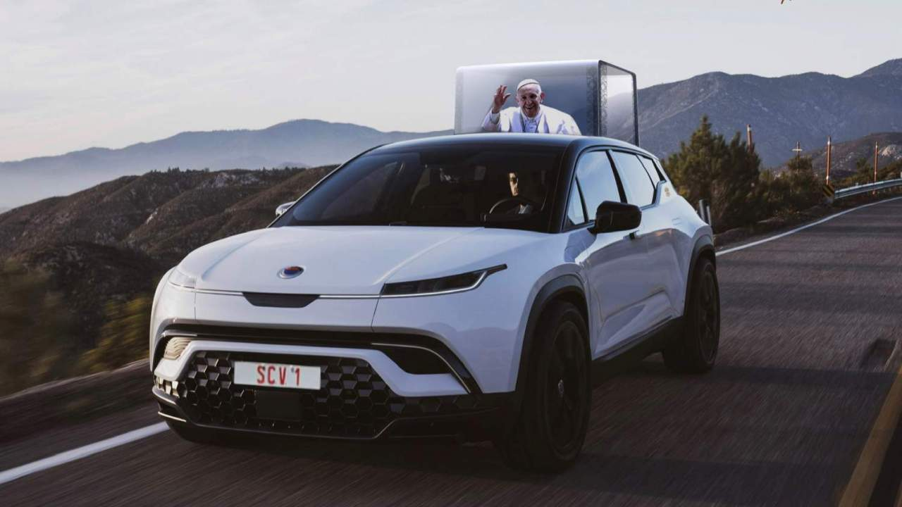 First electric Popemobile revealed as Fisker's SUV converts to Catholicism