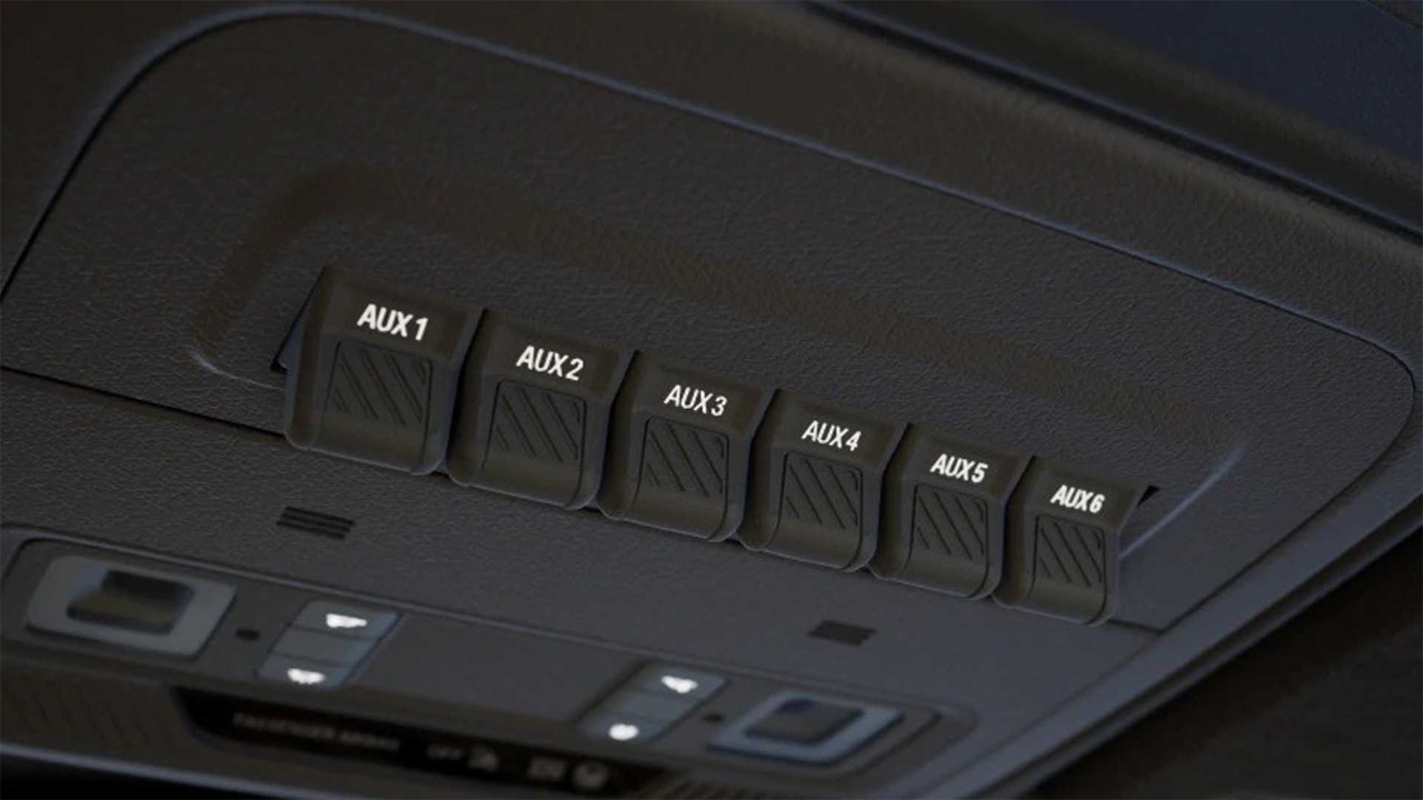 Bronco buyers get six switches on the overhead console to control accessories