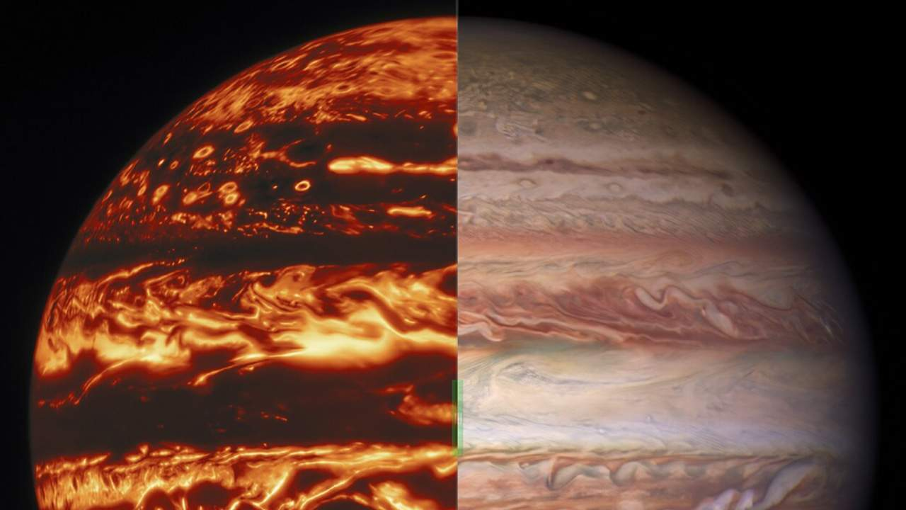 Jupiter's atmosphere imaged using different colors of light