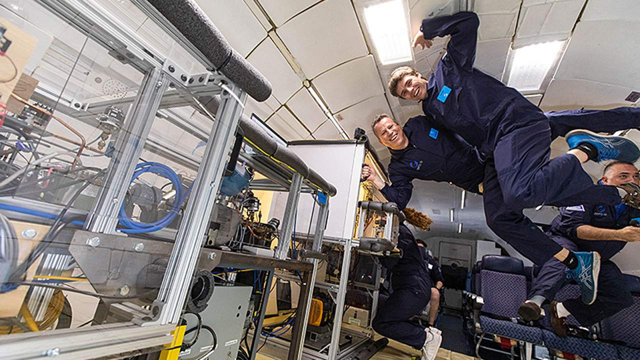 Prototype refrigerator for use in microgravity undergoes testing