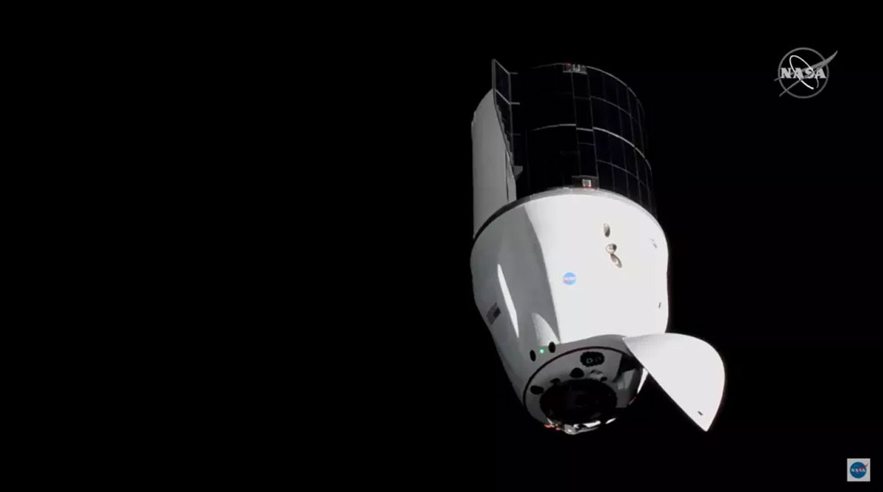 SpaceX Dragon cargo capsule docks safely with the ISS