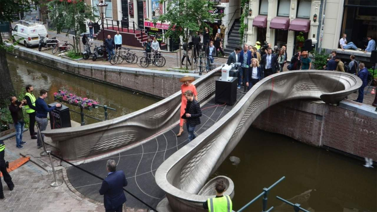 World's first 3D-printed steel bridge unveiled in Amsterdam