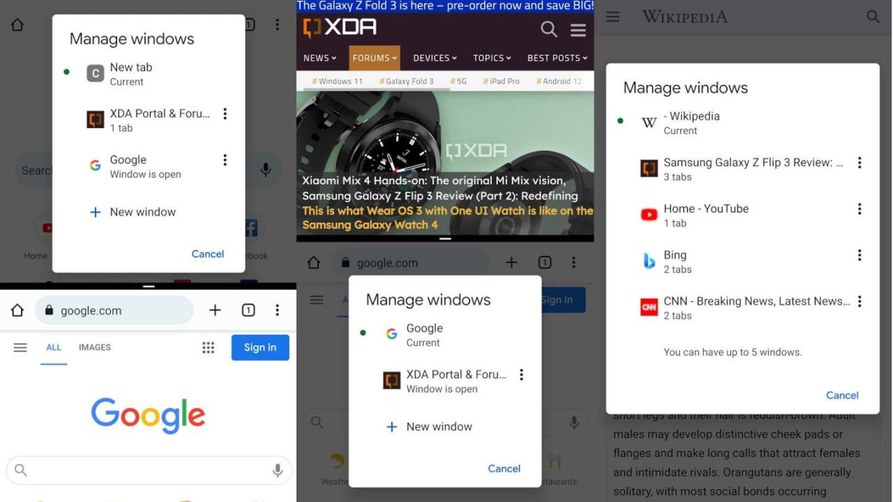 Chrome on Android 12 will support multiple windows