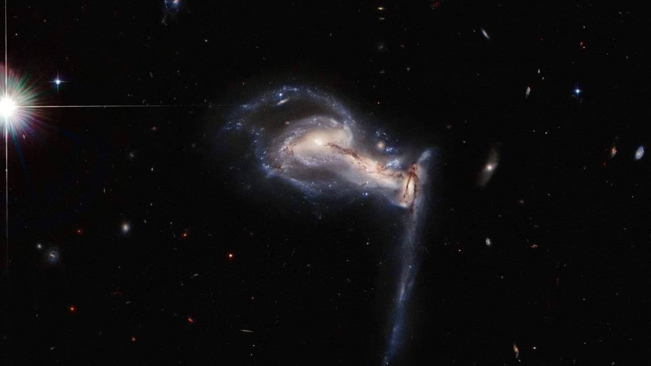 NASA Hubble image shows three 'peculiar' galaxies playing tug-of-war