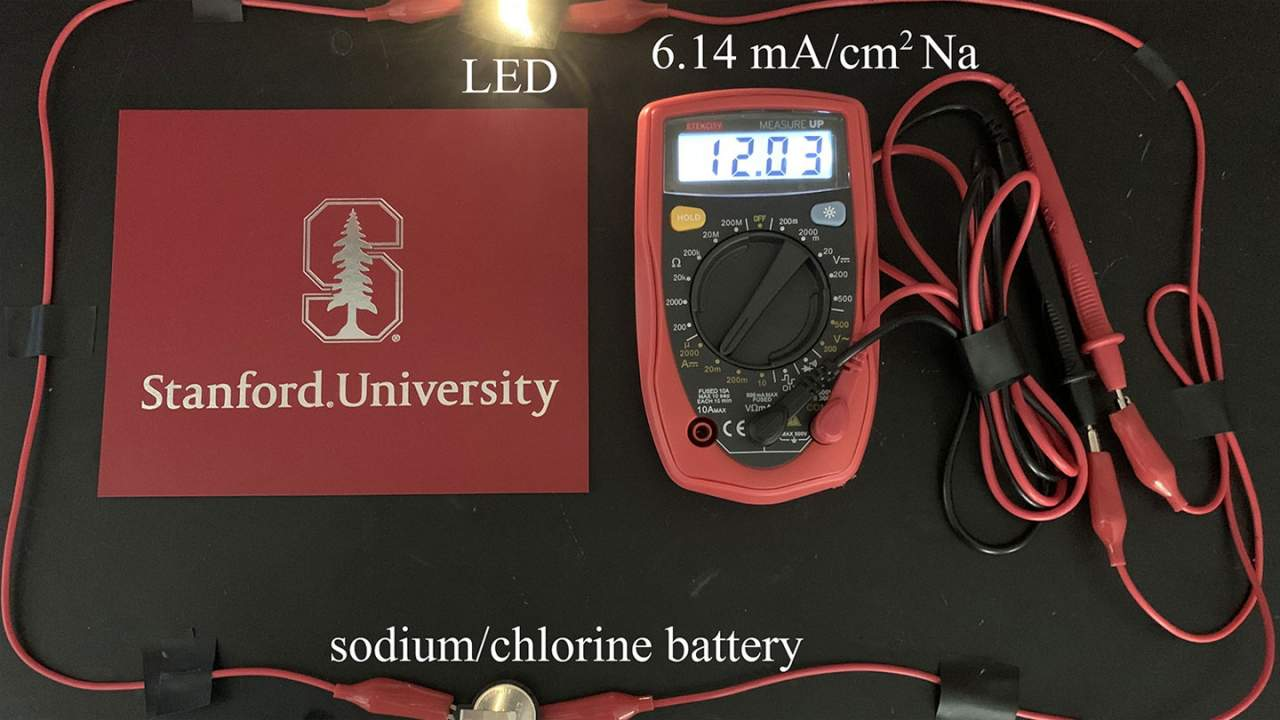 Stanford alkali metal-chlorine battery stores six times more energy