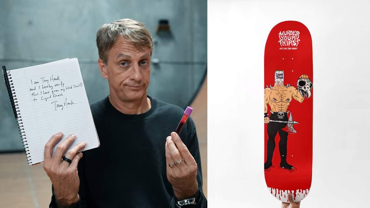 Liquid Death sells Tony Hawk blood-infused skateboard