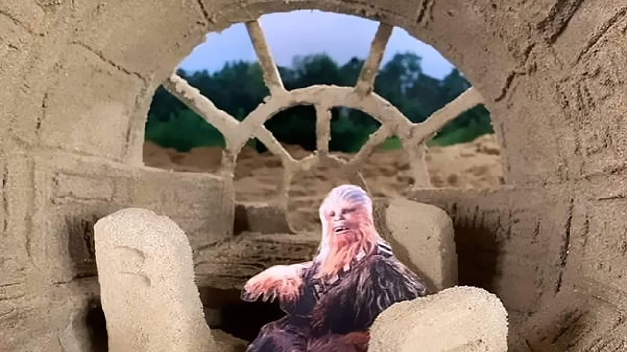 Watch artist create detailed Millennium Falcon using sand and glue