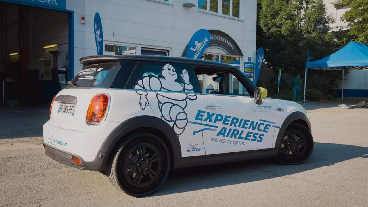 Michelin shows off its airless Uptis tire fitted to a Mini