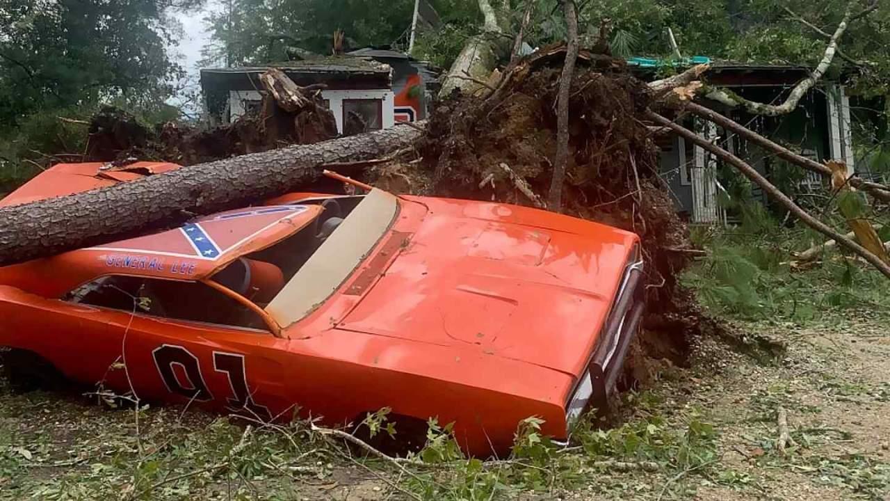 Iconic Dukes of Hazzard car smashed by tree during Hurricane Ida