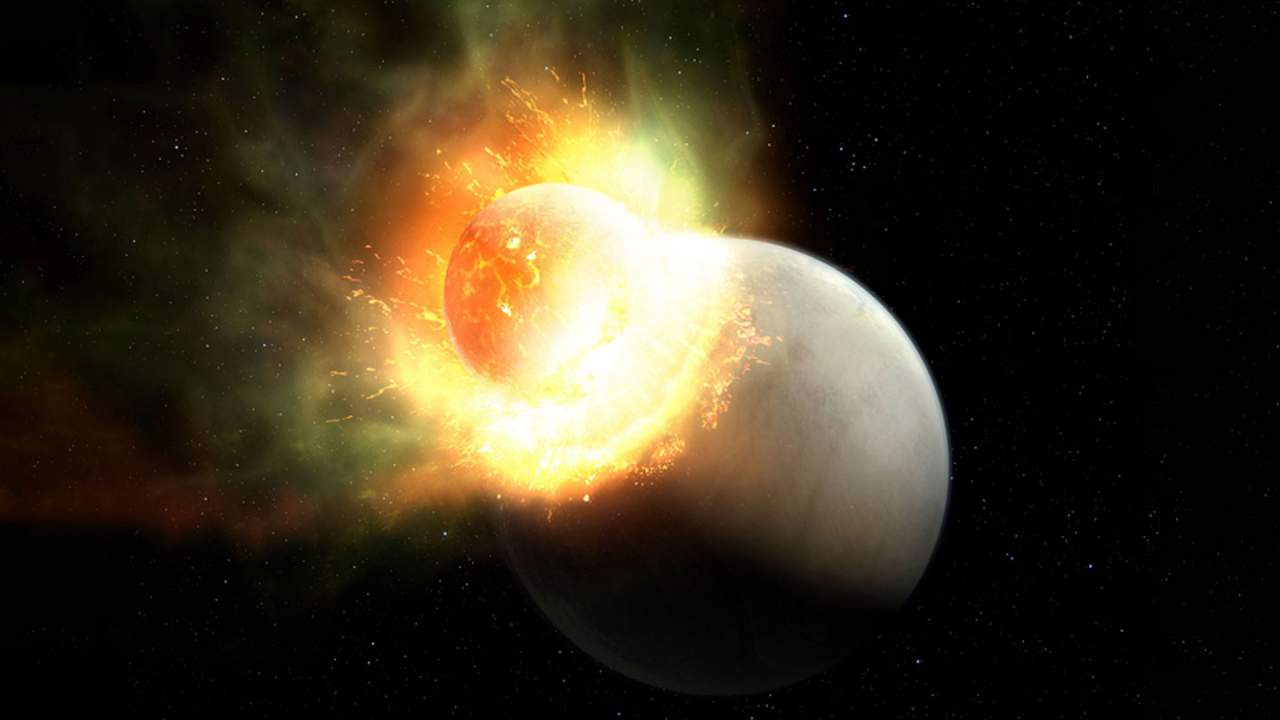 Researchers discover a planet losing its atmosphere after a massive impact